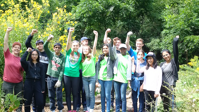 CYC volunteers from Mayfield Secondary School after stewarding the Credit River (Photo credit ©Credit Valley Conservation)