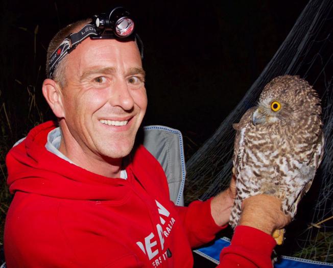 John White with a powerful owl