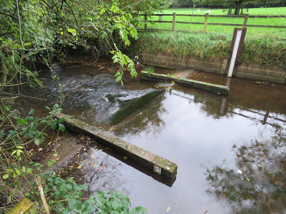 A flow gauging weir providing a potential obstacle to eels (Photo credit ©Peter Walker)